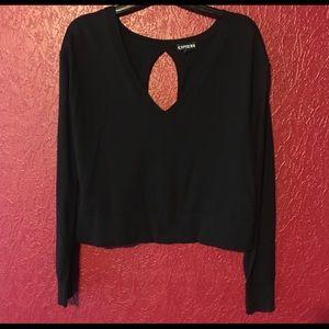 EXPRESS Zipper Detail Crop Cut Out Sweater